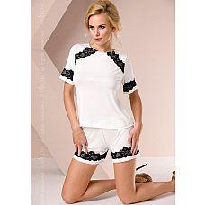 Нежная пижамка с кружевом  Комплект: топ с короткими руками и шорты, изделия декорированы чёрным кружевом.