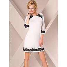 Ночная сорочка с контрастным кружевом  Сорочка прямого кроя с удлиненным рукавом, изделие декорировано контрастным кружевом.