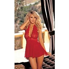 Сорочка с кружевным верхом  Эластичное, сексуальное платье беби-долл с кружевным лифом и слегка драпированным подолом.