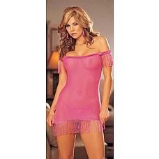 Прозрачная сорочка с длинной бахромой  Сорочка из сетевого материала с открытыми плечиками.