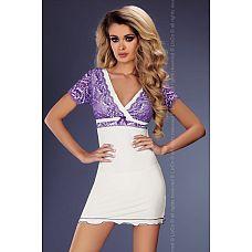 Сорочка Trudy с ярким кружевом  Белая сорочка из стрейч-атласного материала, зона декольте и рукава украшены кружевом.
