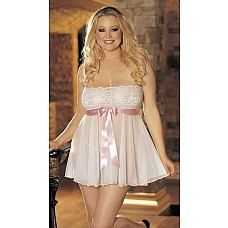 Изысканная сорочка с кружевным лифом  Красивая и легкая сорочка без бретелек с фронтальным атласным поясом контрастного цвета.