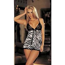 """Сорочка """"бэби долл"""" с принтом леопарда или зебры  Изумительная сорочка с кружевным лифом и атласным бантиком, в комплекте с трусиками-стринг."""