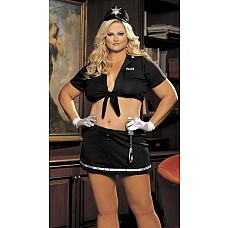 Комплект *Девушка-полицейский*  Комплект изготовлен из эластичного материала,  декорирован контрастной отделкой и надписью *Police*.
