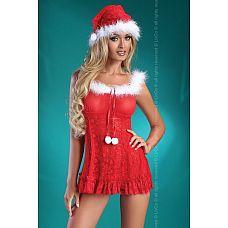 Праздничная сорочка Christmas Bell  Кокетливый комплект санты, бэби-долл и колпачок украшены пухом марабу.