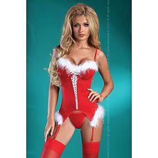 Праздничный корсаж Christmas Angel  Игривый корсаж девушки санты из стрейч-атласного материала.