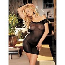 Сетевая сорочка *Please Me*  Эластичная сорочка выполнена из прозрачного сетевого материала, горловина,рукава и низ сорочки с отделкой из эластичного атласа.