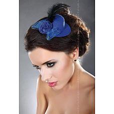 Синяя мини-шляпка с перышком  Синяя мини-шляпка с перышком.