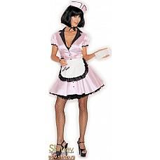 Кокетливая официантка  Костюм включает в себя атласное платье спереди на пуговицах, фартук, шапочку.