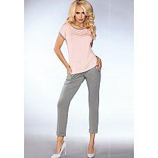 Легкая пижамка с верхней частью в горошек  Стильный домашний комплект, штаны и футболка.