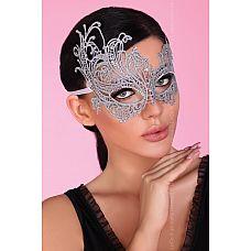 Серебристая ажурная маска Mask Silver  Кружевная маска, украшена стразами, завязка атласные ленты.