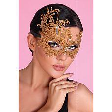 Золотистая ажурная маска Mask Golden  Кружевная маска, украшена стразами, завязка атласные ленты.