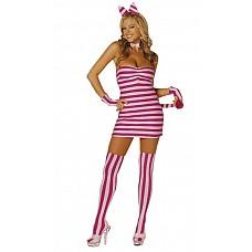 Костюм «Чеширская кошка»  Обтягивающее платье из спандкса с хвостиком.