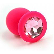 Розовая силиконовая анальная пробка с розовым кристаллом - 8,3 см.  Анальная пробка из силикона розового цвета, размер L.