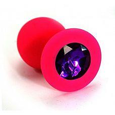 Розовая силиконовая анальная пробка с темно-фиолетовым кристаллом - 7 см.  Анальная пробка из силикона розового цвета, размер M.
