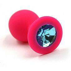 Розовая силиконовая анальная пробка с голубым кристаллом - 7 см.  Анальная пробка из силикона розового цвета, размер M.