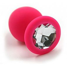 Розовая силиконовая анальная пробка с прозрачным кристаллом - 7 см.  Анальная пробка из силикона розового цвета, размер M.