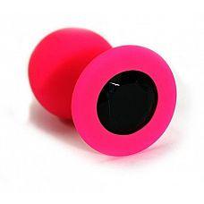 Розовая силиконовая анальная пробка с черным кристаллом - 7 см.  Анальная пробка из силикона розового цвета, размер М.
