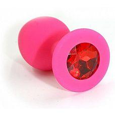 Розовая силиконовая анальная пробка с красным кристаллом - 7 см.  Анальная пробка из силикона розового цвета, размер M.