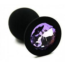 Чёрная силиконовая анальная пробка с светло-фиолетовым кристаллом - 7 см.  Анальная пробка из силикона черного цвета, размер M.