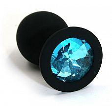 Чёрная силиконовая анальная пробка с голубым кристаллом - 7 см.  Анальная пробка из силикона черного цвета, размер M.