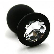 Чёрная силиконовая анальная пробка с прозрачным кристаллом - 7 см.  Анальная пробка из силикона черного цвета, размер М.