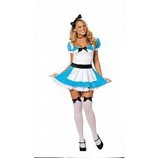 Сексуальная Алиса из Зазеркалья  Костюм включает 3 предмета: платье из спандекса с фартучком, украшенное оборками и бантиком,ленту для волос и чулки с бантиками.
