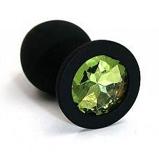 Чёрная силиконовая анальная пробка с светло-зеленым кристаллом - 7 см.  Анальная пробка из силикона черного цвета, размер M.