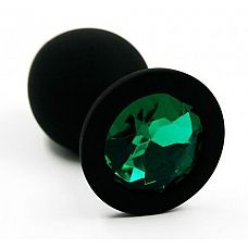 Чёрная силиконовая анальная пробка с изумрудным кристаллом - 7 см.  Анальная пробка из силикона черного цвета, размер M.