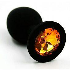 Чёрная силиконовая анальная пробка с жёлтым кристаллом - 7 см.  Анальная пробка из силикона черного цвета, размер M.