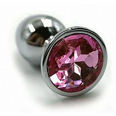 Серебристая алюминиевая анальная пробка с светло-розовым кристаллом - 7 см.  Анальная пробка из алюминия размер M.