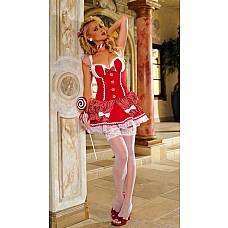 """Костюм """"Милашка с леденцом на палочке""""  Милое и игривое  платье ctpeйч с восхитительной атласной и кружевной отделкой дополняется ленточкой для шеи в тон платья."""