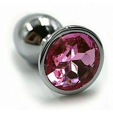 Серебристая алюминиевая анальная пробка с светло-розовым кристаллом - 6 см.  Анальная пробка из алюминия размер S.