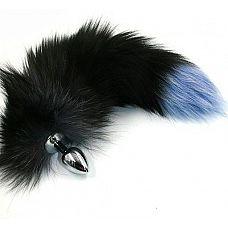 Серебристая анальная пробка с чёрно-голубым хвостом из натурального меха  Анальная пробка из алюминия с пушистым хвостом из натурального меха размер S.