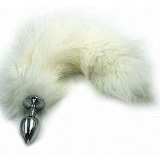 Серебристая алюминиевая анальная пробка с белым хвостом из натурального меха  Анальная пробка из алюминия с пушистым хвостом из натурального меха размер S.