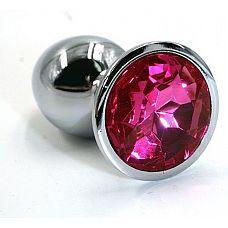 Серебристая алюминиевая анальная пробка с ярко-розовым кристаллом - 7 см.  Анальная пробка из алюминия размер M.