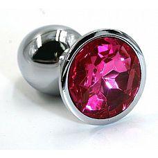 Серебристая алюминиевая анальная пробка с ярко-розовым кристаллом - 6 см.  Анальная пробка из алюминия размер S.