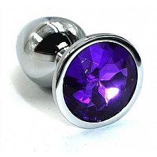 Серебристая алюминиевая анальная пробка с темно-фиолетовым кристаллом - 7 см.  Анальная пробка из алюминия размер M.
