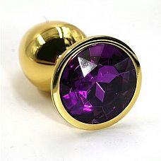 Золотистая алюминиевая анальная пробка с темно-фиолетовым кристаллом - 7 см.  Золотая анальная пробка из алюминия размер M.