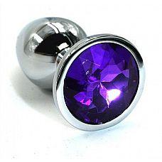 Серебристая алюминиевая анальная пробка с темно-фиолетовым кристаллом - 6 см.  Анальная пробка из алюминия размер S.