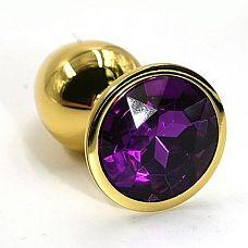 Золотистая алюминиевая анальная пробка с темно-фиолетовым кристаллом - 6 см.  Золотая анальная пробка из алюминия размер S.