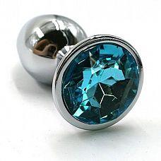 Серебристая алюминиевая анальная пробка с голубым кристаллом - 6 см.  Анальная пробка из алюминия размер S.