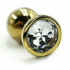 Золотистая алюминиевая анальная пробка с прозрачным кристаллом - 8,4 см.  Золотая анальная пробка из алюминия размер L.