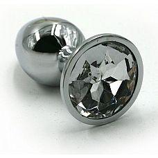 Серебристая алюминиевая анальная пробка с прозрачным кристаллом - 7 см.  Анальная пробка из алюминия размер M.