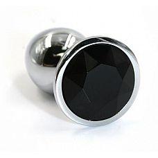 Серебристая алюминиевая анальная пробка с чёрным кристаллом - 8,4 см.  Анальная пробка из алюминия размер L.