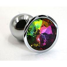 Серебристая алюминиевая анальная пробка с радужным кристаллом - 6 см.  Анальная пробка из алюминия размер S.