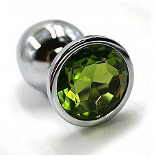 Серебристая алюминиевая анальная пробка с светло-зеленым кристаллом - 6 см.  Анальная пробка из алюминия размер S.