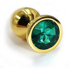 Золотистая алюминиевая анальная пробка с изумрудным кристаллом - 6 см.  Золотая анальная пробка из алюминия размер S.