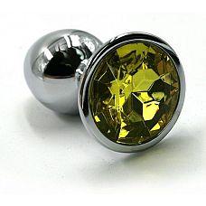 Серебристая алюминиевая анальная пробка с желтым кристаллом - 7 см.  Анальная пробка из алюминия размер M.