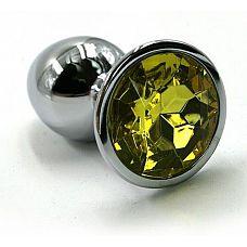 Серебристая алюминиевая анальная пробка с желтым кристаллом - 6 см.  Анальная пробка из алюминия размер S.